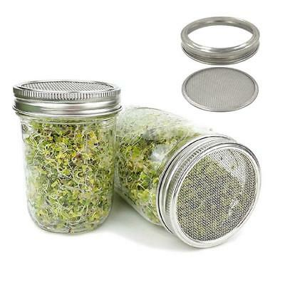 Stainless Steel Home Wide Mouth Strainer Sprouting Lid Mason Canning Jars 2/4Pcs