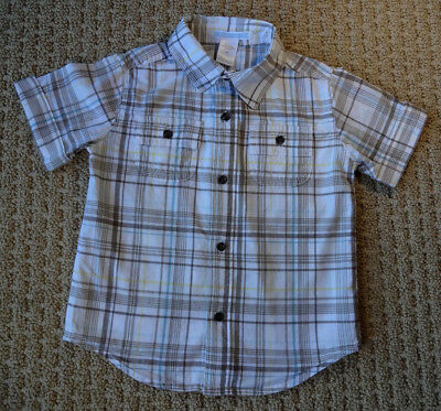 JANIE AND JACK BOYS Summer Elephant Plaid Cuffed Button-Up Shirt 2T 2 Yrs $29