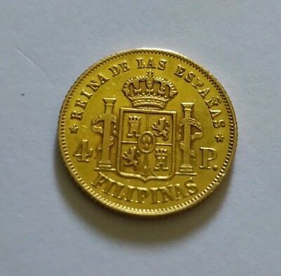 1863 Philippines 4 Peso Gold extremely fine grade ..