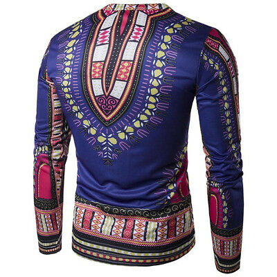 L-Men Cotton Tribal Ethnic Tradition African Long Sleeve Bright Dashiki Top