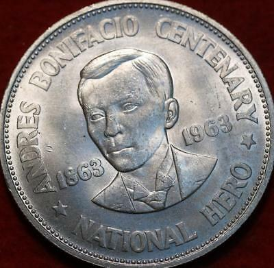 Uncirculated 1963 Philippines 1 Peso Silver Foreign Coin