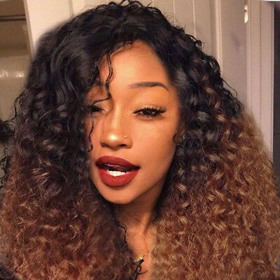 Dame femme Brown long Kinky Curly perruques naturel afro Fluffy ondulés cosplay