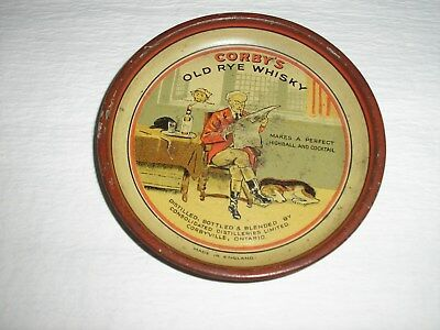 """Vintage Corby's Old Rye Whiskey Metal Tip Tray,  4"""", Good Cond., Made In England"""