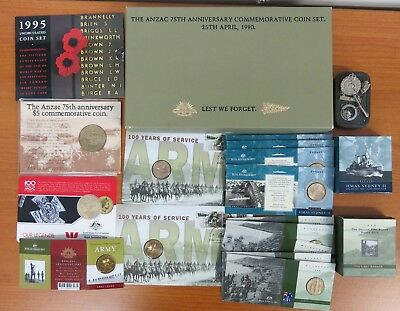 Collection of WWI II ARMY ANZAC Victoria Cross coin sets inc Silver. Badges Pin.
