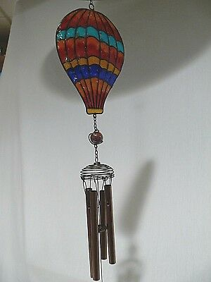 NEW/NWT Hot Air Balloon Wind Chimes - Metal & Glass/Wind-Transportation-Colorful
