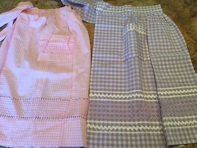 2 Vintage Gingham Checked Half Aprons Pink Lavender Embroidered Ric Rac
