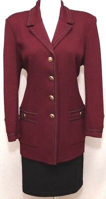 ST.JOHN Collection by Marie Gray Womens Knit Burgundy Trim Jacket Sz 8