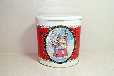Vintage FTD Christmas Holiday Oval Cookie Tin Christmas Carolers Made in BRAZIL