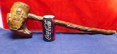 Antique Vintage Large Old Chinese Oriental Asian Wood Smoking Pipe Great Carving