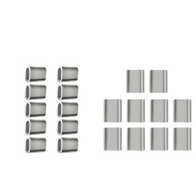 20x Aluminium Steel Cable Ferrule Crimping Loop Sleeve for Wire Rope 4/5mm