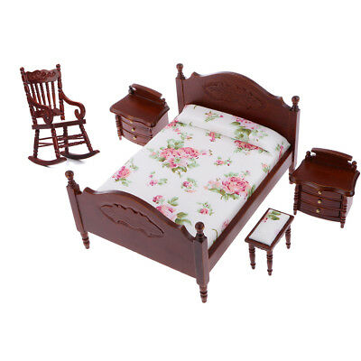 1/12 Furniture Queen Bed Cabinet Rocking Chair for Dolls House Bedroom Decor