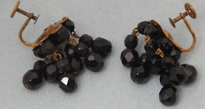 Antique Vintage French Jet Mourning Earrings Screw Back Faceted Graduated Beads