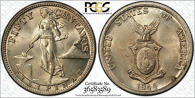 RARE US/Philippines 1944-S/S Fifty Centavos Allen-15.01a PCGS MS 61