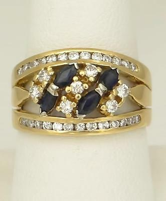 LADIES 750 18k YELLOW GOLD 1.00ct BLUE SAPPHIRE 3/4ct DIAMOND BAND RING