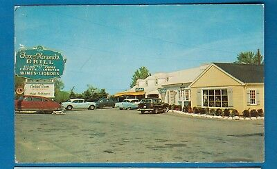 Quincy, Mass/ Fox and Hounds Grill/  building/ old cars/ chrome postcard