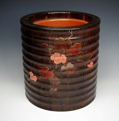 MAGNIFICENT ANTIQUE JAPANESE LACQUERED WOOD POT 1800s Brazier Meiji Hibachi