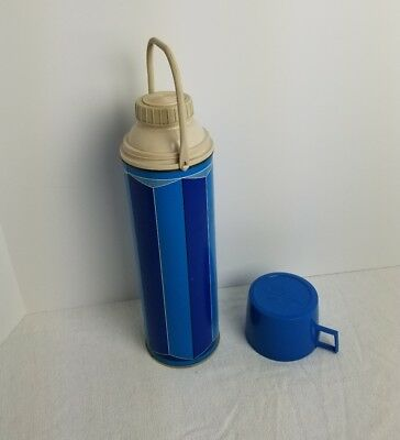 Vintage King Seeley Blue Tone Thermos 1974 Vacuum Bottle 2410 Made in USA Retro