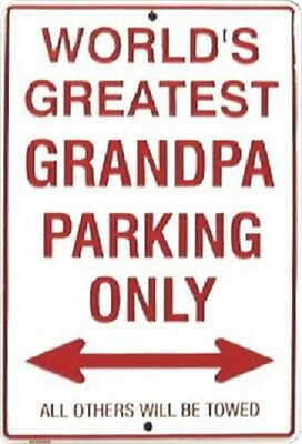 """World's Greatest Grandpa Parking Only 8""""x12"""" Metal Plate Parking Sign"""