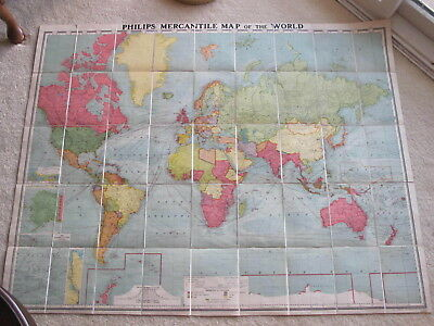 Philips Mercantile Map of the World Foldout Map Trade and Shipping Routes