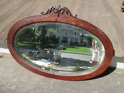 Old Original Vintage Antique Victorian Beveled Glass Mirror, Ready To Hang!