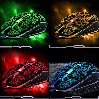 4000DPI Adjustable Back Optical LED Wired Gaming Game Mice Mouse for Laptop PC