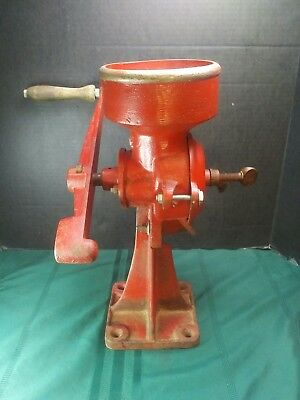 Vintage 2MB Cast Iron Hand Crank Grain Wheat Corn Coffee Grist Mill Grinder USA