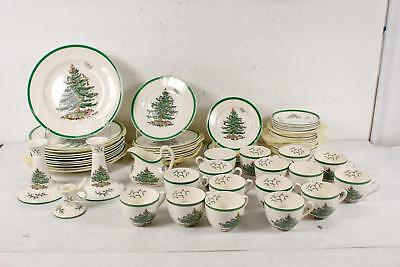 61 Spode Christmas Tree S3324 Plates cups Saucers Candlestick Holder Creamer Lot