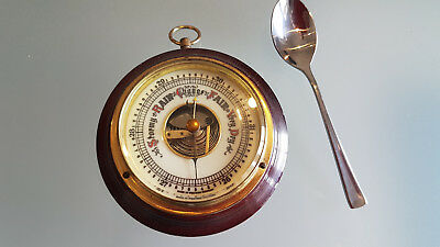 ANEROID BAROMETER, MADE IN GERMANY SMALL COMPACT ONE 9cm ACROSS. GOOD ORDER.
