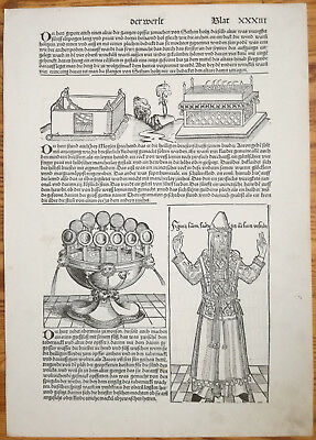 Incunable Leaf Schedel Liber Chronicorum Woodcuts Ark of Convenant Priest  1493