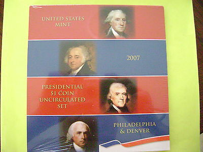 2007 Us Mint Presidential P & D Uncirculated 8-Coin Dollar Set