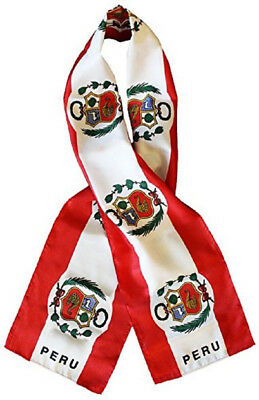 "Peru Country Lightweight Flag Printed Knitted Style Scarf 8""x60"""