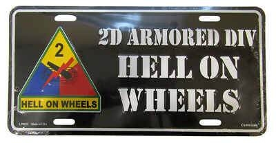 """2nd Armored Division Hell On Wheels Black 6""""x12"""" Aluminum License Plate Made USA"""