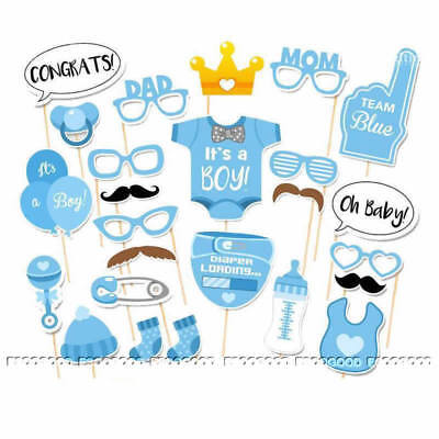 25pcs Baby Shower Boy Photo Booth Props Gender Reveal Selfie New Born Party Game
