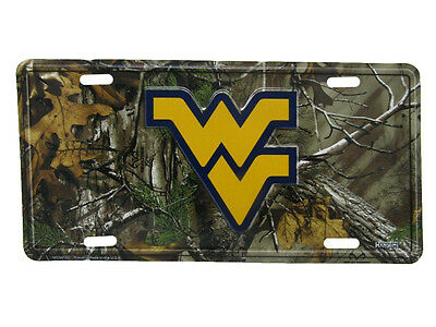 """West Virginia Mountaineers Camo Camouflage 6""""x12"""" Aluminum License Plate Tag"""