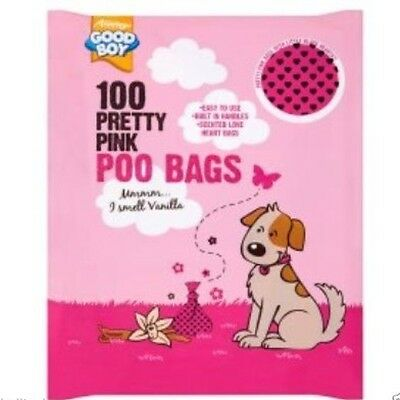 Good Boy Dog Poo Bags 100 Pretty Pink With Black Hearts with Carry Handles