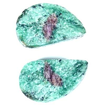 14.20Cts 100% Natural Designer Ruby In Zoisite Druzy Fancy Pair Cab Gemstone