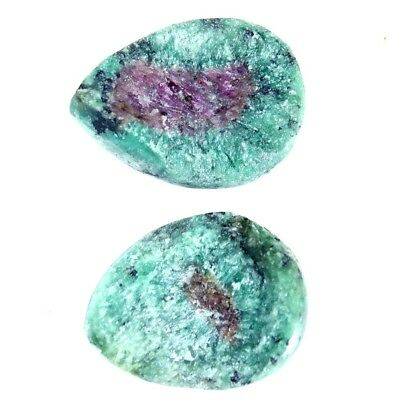 11.45Cts 100% Natural Designer Ruby In Zoisite Druzy Pear Pair Cabochon Gemstone