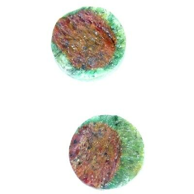 13.40Cts 100% Natural Designer Ruby In Zoisite Druzy Round Pair Cab Gemstone