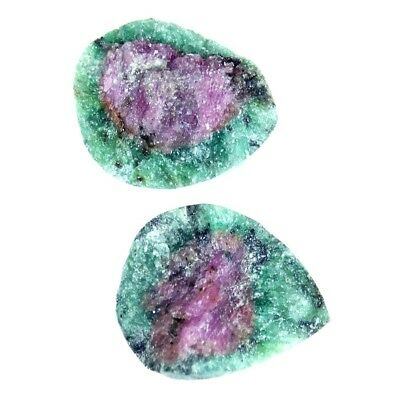 7.05Cts 100% Natural Designer Ruby In Zoisite Druzy Pear Pair Cabochon Gemstone