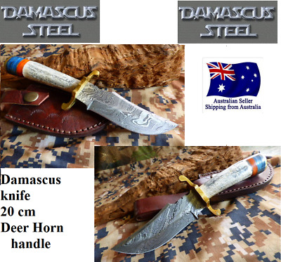 no2 DAMASCUS REAL DEER HORN FIXED BLADE KNIFE FILEWORK  HUNTING SHEATH KNIVES