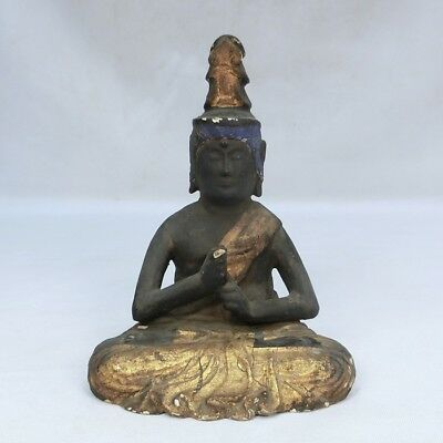 B609: Real old Japanese wood carving ware Buddhist statue with good work.