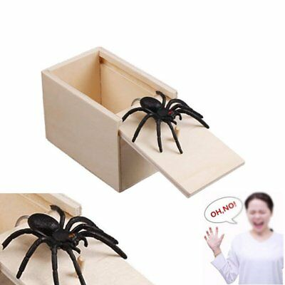 Wooden Prank Spider Scare Box Hidden in Case Trick Play Joke Gag Toys Gifts HE