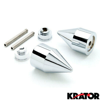 Silver Spiked Motorcycle Bar Ends Weights Sliders For Honda CBR 600 900 1000 RR