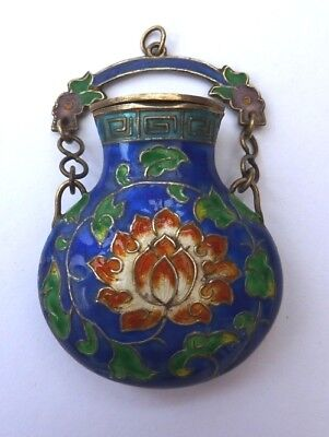 Chinese stamped Silver & Enamel Pendant
