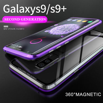 For Samsung S8 S9 Plus Flip Magnetic Metal Tempered Glass Case Shockproof Cover