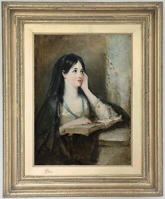 Young Beauty in Contemplation Antique Oil Painting 19th Century British School