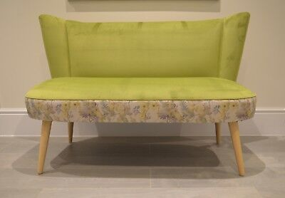Two Seater Cocktail Sofa Bench Seat in Lime Green . Handmade in UK