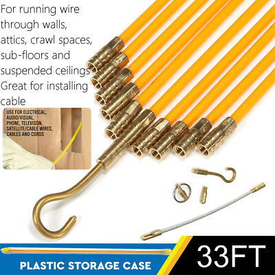 33' Fiberglass Running Wire Cable Coaxial Electrcal Fish Tape Kit Pull & Push US