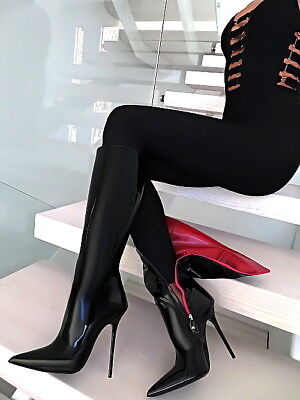 167120d7c94 Leather Anouk Sexy Boots 1969 Italy Hohe Leder Stiefel Schwarz W91 High  Heels 38