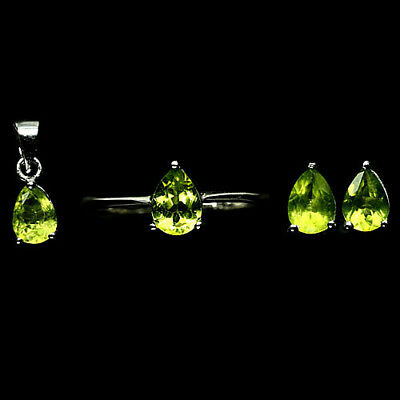 Natural! Set Green Peridot 925 Silver Sterling White Gold Plated Sz7.75